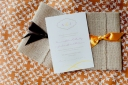 Burlap Flap Invites by Papier Gourmet, via Postcards & Pretties